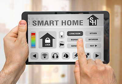 Smart home control app on tablet