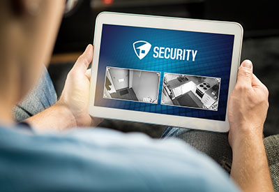 Home Security Camera Monitoring on Tablet