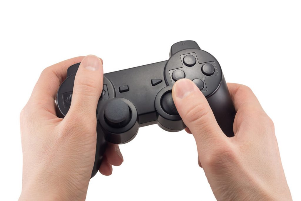 someone holding a game controller
