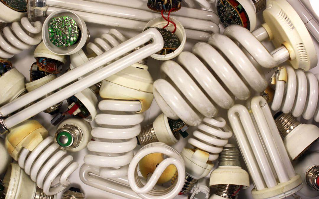 a pile of used light bulbs